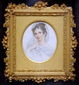 CONTINENTAL SCHOOL (19th century) Portrait miniature with parakeet Pencil and watercolour 22 x 23.
