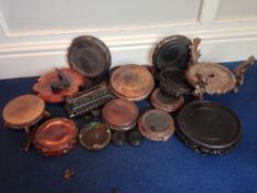 Various 19/20th century Chinese carved wood stands Various sizes.  (Quantity)   CONDITION