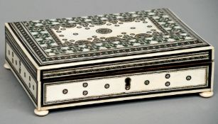 A late 19th century Anglo-Indian ivory Vizagapatam box Of rectangular form, typically decorated,