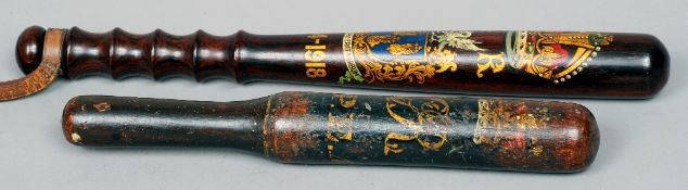 A George IV painted wooden truncheon Decorated with a crown above the cypher GR and inscribed Melton