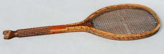 A fish tail tennis racket, the Diamond II by George Bussey & Co., London, retailed by H. Hodgson,