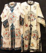 Two early 20th century Chinese embroidered silk gowns Each decorated with various figures, birds and