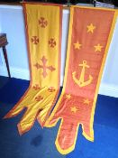 Two 19th century French banners Each in yellow and faded red hues, one decorated with crosses, the