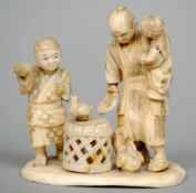A 19th century Japanese ivory okimono Formed as a figural group with chickens.  10 cms wide.
