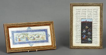 A 19th century Kashmiri miniature on ivory Depicting scholarly figures and a hunt; together with