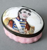 A 19th century Bilston enamelled patch box The hinged domed lid decorated with a bust and