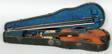 A 19th century Scottish violin by M.L. Deggerman Housed in a carrying case with two bows.  59 cms