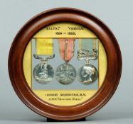 A set of three Victorian medals and ribbons Including: The Baltic Medal (1854-56) and Sebastopol bar