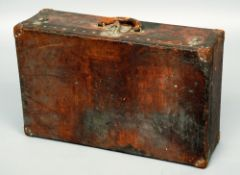 A 19th century Louis Vuitton leather suitcase The interior with Vuitton label numbered Y69800 and
