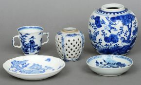 A 19th century Chinese blue and white ginger jar Decorated with birds amongst fauna; together with
