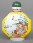 A Chinese painted glass snuff bottle Decorated with vignettes of fishermen, signed and with blue