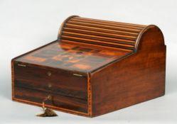 A Victorian inlaid mahogany writing box The domed tambour top enclosing drawers and a recess,