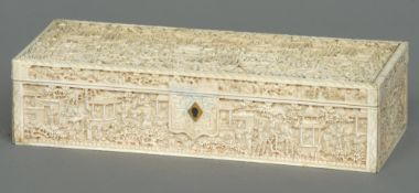 A 19th century Cantonese carved ivory glove box Of rectangular hinge form profusely carved with