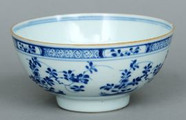 A 19th century Chinese blue and white bowl The exterior decorated with floral bands.  15 cms