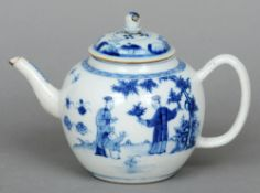 An 18th century Chinese blue and white teapot Of bullet form, decorated with figures in a garden.