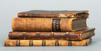 Four various leather bound books Including: De Mirabili Bus Pecci, Being the Wonders of the Peak