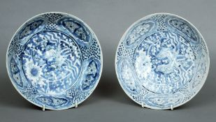 A pair of Chinese blue and white shipwreck plates, from the Binh Thuan Shipwreck Collection,