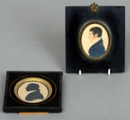 A 19th century watercolour portrait miniature of a gentleman In profile, the reverse with applied