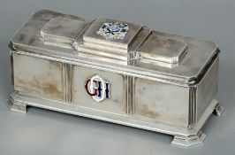 A mid 20th century silver presentation box, hallmarked London 1958, maker's mark of S & S Limited
