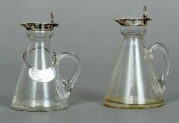 A George V silver mounted clear glass toddy decanter and Whisky label, each hallmarked Birmingham