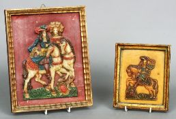 Two 18th/19th century wax pictures One a figure on horseback, the other a couple on horseback,