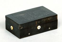 A 19th century French pressed tortoiseshell cased music box The hinged rectangular lid decorated