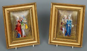 A pair of 19th century Limoges enamel decorated porcelain plaques Each modelled as a pair of