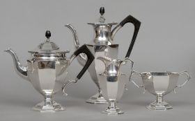 A George V four piece silver tea set, hallmarked Sheffield 1929, maker's mark of William Hutton &