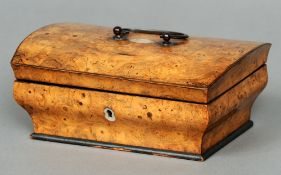 A 19th century burrwood sewing box The domed rounded rectangular lid with a loop handle enclosing
