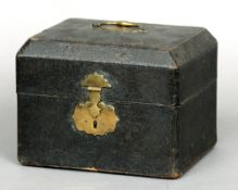 An 18th century shagreen covered casket The hinged domed rectangular top with a brass swing
