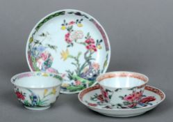 An 18th century Chinese porcelain tea bowl and saucer Decorated in polychrome enamels with a