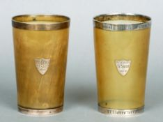 A pair of Victorian silver mounted horn beakers, both hallmarked London 1883, maker's mark of JNM
