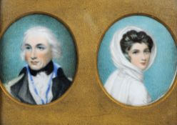 A pair of 18th/19th century portrait miniatures on ivory Of Lord Nelson and Lady Hamilton, mounted