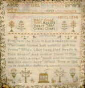 A 19th century needlework sampler Worked with a verse, the alphabet, a country house and various