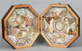 A 19th century sailors shell double valentine Housed in an octagonal hinged folding mahogany