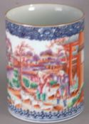 A Chinese Export porcelain mug Decorated with figures hunting with a gun within a river landscape
