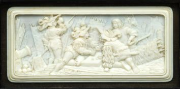 A 19th century Dieppe ivory carved panel The rectangular body carved with soldiers making merry at a