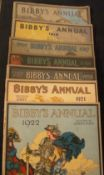"""Seven """"Bibby's"""" annuals Comprising: 1914, 1916, 1917, 1918, 1919-1920, 1921 and 1922, all edited"""