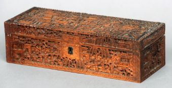 A 19th century Cantonese carved wooden glove box Carved throughout with various figures and