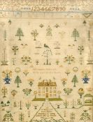 A 19th century needlework memorial sampler Worked with a country house amongst floral sprays, signed