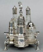 A George II silver cruet stand, hallmarked London 1756, maker's mark possibly for IW With central