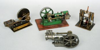 Four various Scratch built scale model stationary engines Together with various technical drawings.