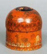 A 19th century Kashmiri treen box and cover The domed removable lid above the main cylindrical