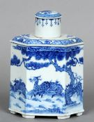 An 18th century Chinese blue and white tea canister The removable domed lid above the hexagonal main