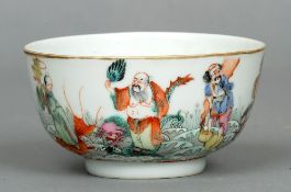 A 19th century Chinese bowl The exterior painted with various figures and animals amongst waves, the