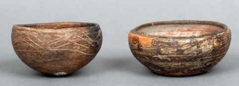 Two terracotta Cholula (circa 600-900 AD) bowls One with incised decoration, the other with