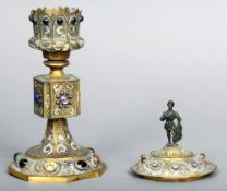 A 19th century, 17th century style, chalice and cover The domed removable lid with a knight form