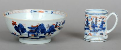 A Chinese Export porcelain bowl Typically decorated with a continuous landscape; together with a