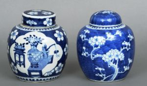 A 19th century Chinese blue and white ginger jar and cover Decorated with vases of flowers; together