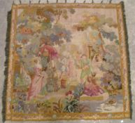 A Continental wool work tapestry wall hanging Depicting figures in a garden.  142 x 142 cms.
